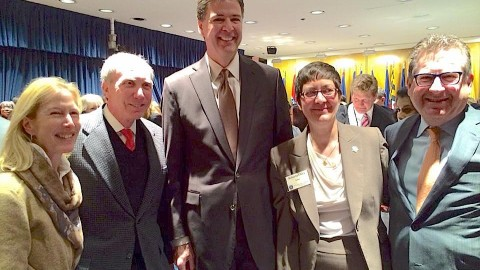Pictured from left to right: Linnie Katz, Michael Katz, FBI Director James B. Comey, Roberta S. Clark, Lawrence Rosenbloom